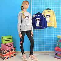 8955 Кофта свитшот для девочки КОТ двухнитка тм GLO-STORY размер 120,130,140,150