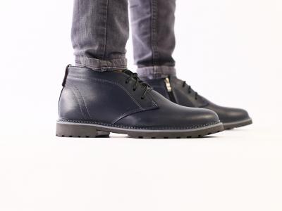Мужские зимние кожаные ботинки, синие
