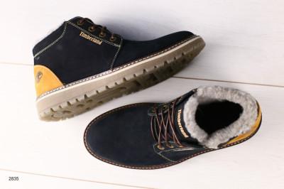 Мужские зимние темно-синие ботинки из нубука с рыжей пяткой 40