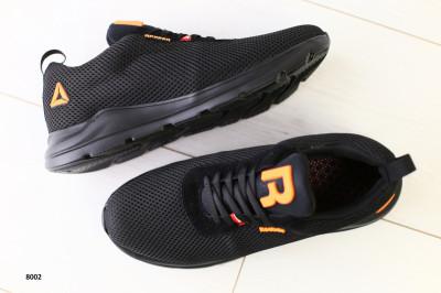 Мужские кроссовки черная сеточка с замшевыми вставками