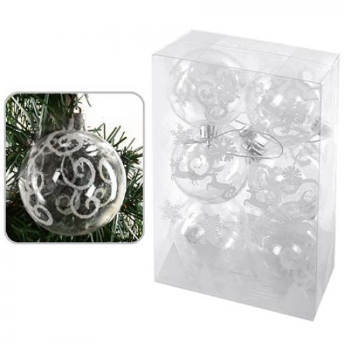 Елочные шарики прозрачные, диаметр 6см, 6шт/кор