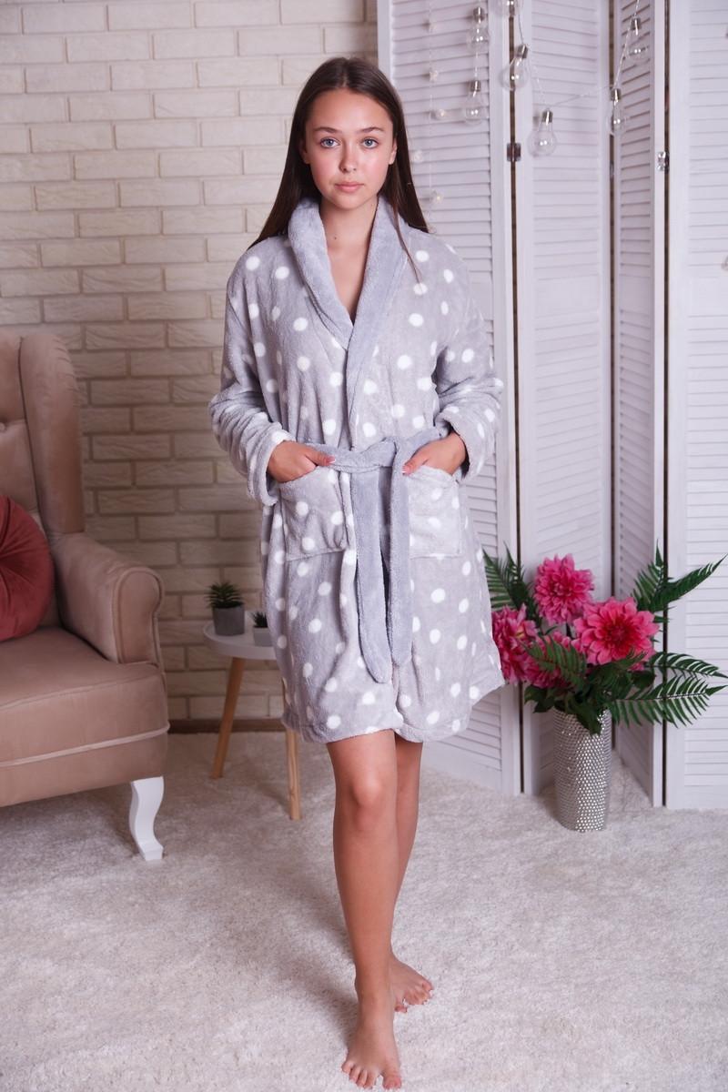 Женский теплый халат в горох  с капюшоном   Nicoletta  94068