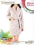 Женский теплый халат в горох  с капюшоном   Nicoletta  94068, фото 5