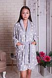 Женский теплый халат в горох  с капюшоном   Nicoletta  94068, фото 6