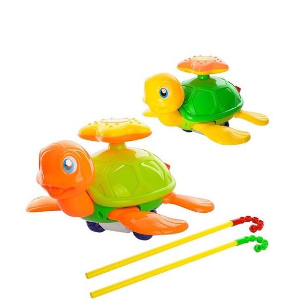 Детская каталка на палке, черепаха, звук, подвижные лапы