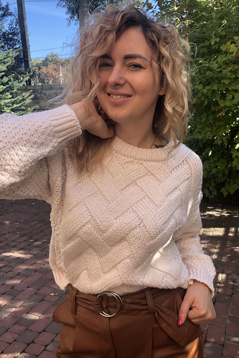Джемпер люрекс с узором плетенка LUREX - белый цвет, S (есть размеры)
