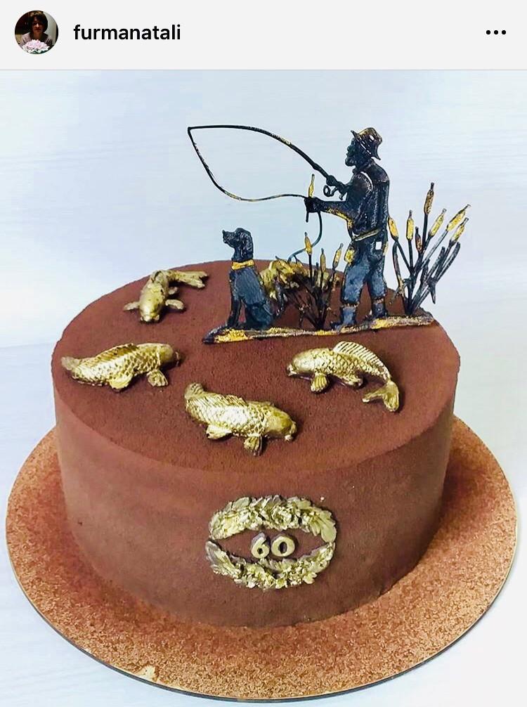 Топпер на торт рибалка, рибак з собакою на торт, Топпери з рибалкой, рибак на торт