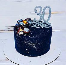 Топпер цифра 30 на завитку в сріблястих блискітках Цифра 30 в торт цифра 30 на паличці