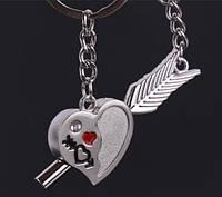 Парные брелки для влюбленных - Сердце + стрела с крыльями