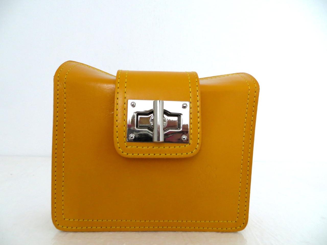 Красивая маленькая женская сумочка-клатч 100% кожа Желтый, фото 1