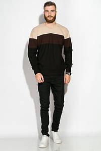 Пуловер трехцветный 520F006 (Бежево-черный)