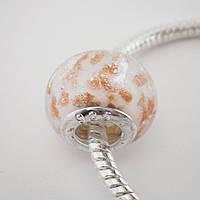 Бусина Pandora (Пандора) бело-золотая P7190516, фото 1