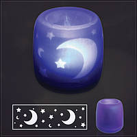 Сенсорная электронная свеча с мерцающими силуэтами (electronic candle). Луна и звезды