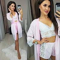 Комплект ночной женский халат + топ + шорты, модный, молодежный, красивый, до 48 размера