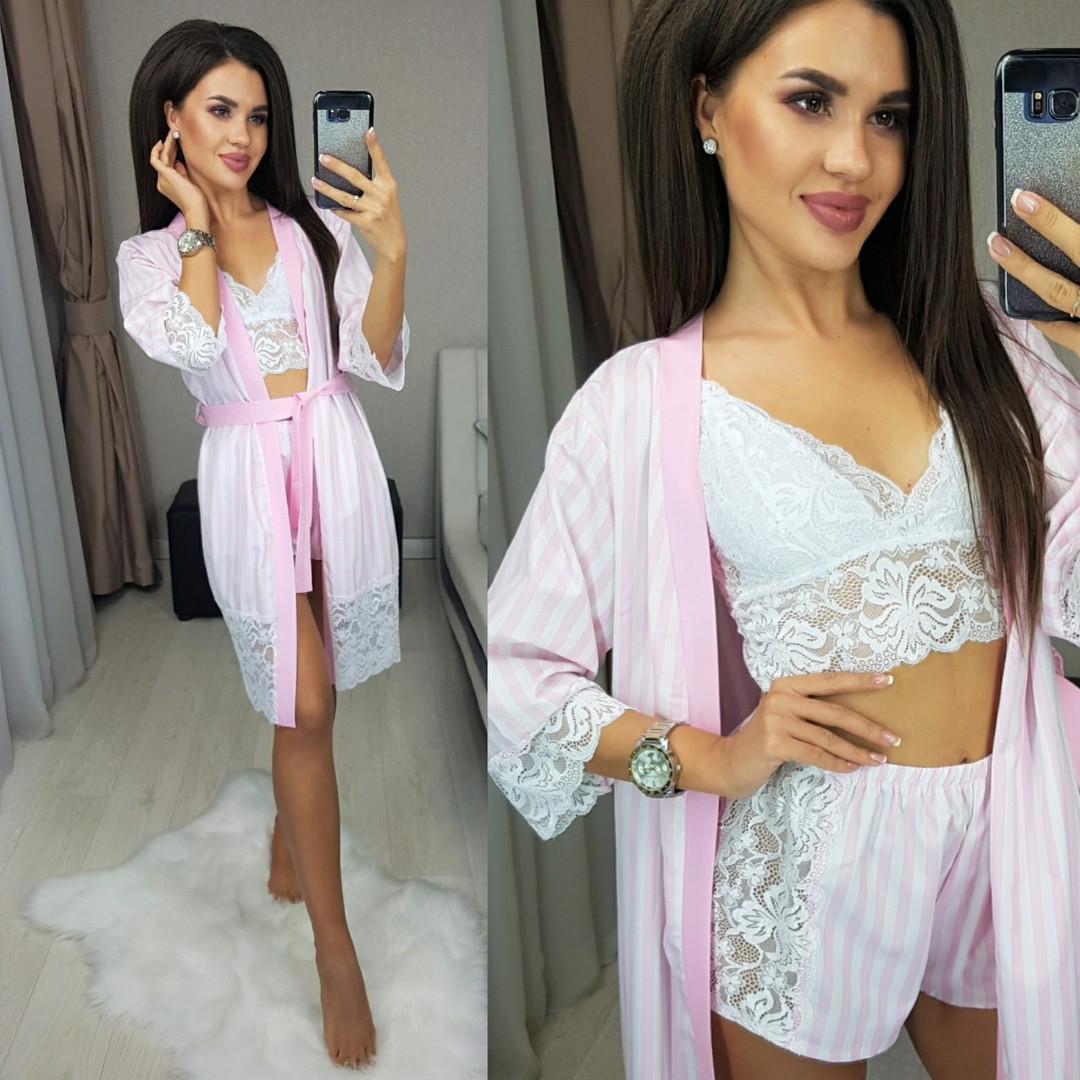 Комплект ночной женский халат + топ + шорты, модный, молодежный, красивый, до 48 размера, фото 1