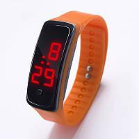 Спортивные силиконовые часы-браслет LED оранжевые SW2-08