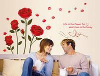 Самоклеющаяся наклейка на стену Розы (mAY6005), интерьерная наклейка на стену