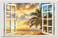 Самоклеющаяся наклейка на стену Окно в тропики XL8022B, интерьерная наклейка на стену