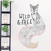 Самоклеющаяся наклейка на стену Лиса Wild and Free XL8345, интерьерная наклейка на стену