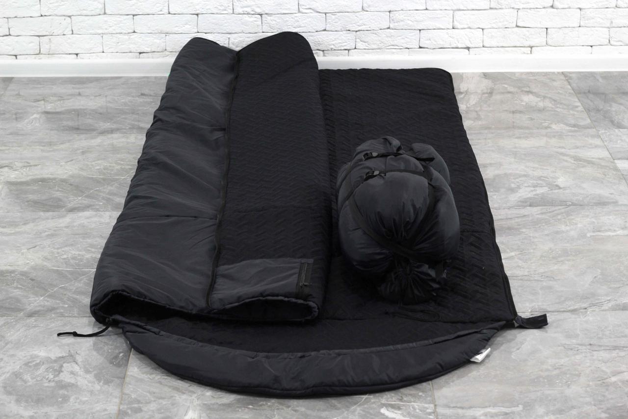 Тактический Черный спальный мешок (до -15) спальник туристический для похода, для холодной погоды!