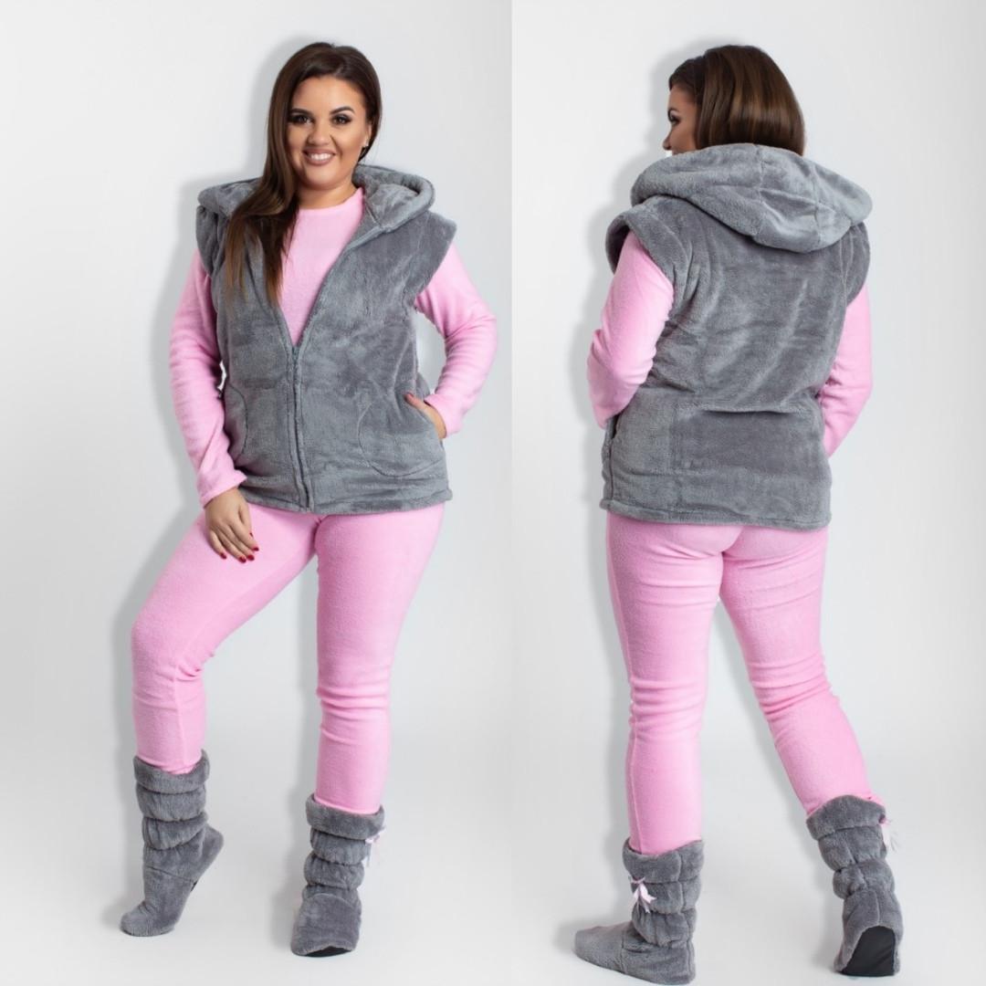 Комплект домашний женский, большого размера, теплый, мягкий, пижама + махровый жилет+сапожки, до 52 р-р