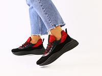 Замшевые кроссовки на массивной подошве, черный с красным, с кожаными вставками