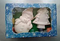 Новогодний набор гипсовых фигурок для творчества. Різдвяний набір гіпсових фігурок для творчості №66