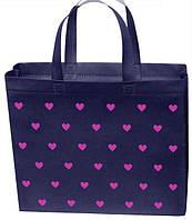 Эко сумка маленькая 32*27 см синяя в сердечко