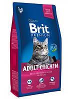 Сухой корм для взрослых кошек с курицей  Brit Premium Cat Adult Chicken 8 кг