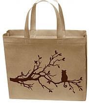 Эко сумка маленькая 32*27 см бежевая кот на ветке