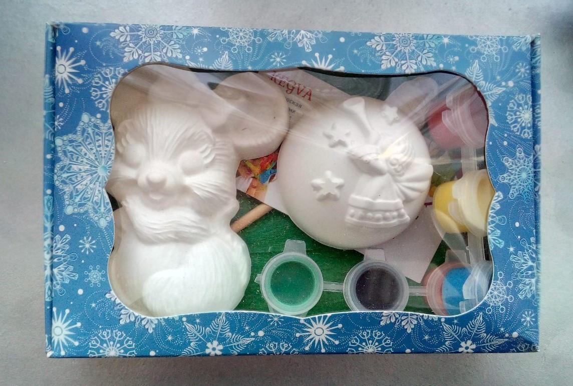 Новогодний набор гипсовых фигурок для творчества. Різдвяний набір гіпсових фігурок для творчості №73