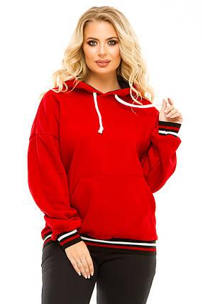 Худи с капюшоном трехниткa 736 oversize (46-52) красный, фото 2