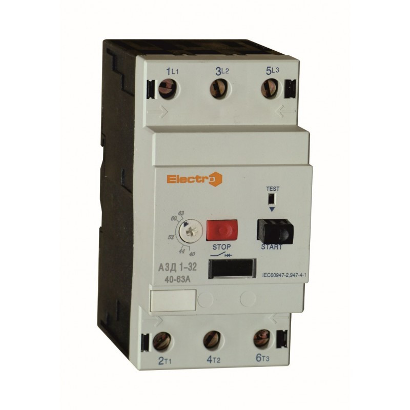 Автоматичний вимикач захисту двигуна АЗД1-32, 63A