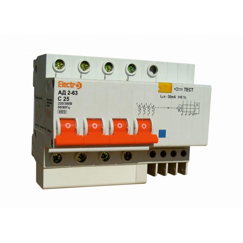 Диференційний автоматичний вимикач АД 2-63, 4Р