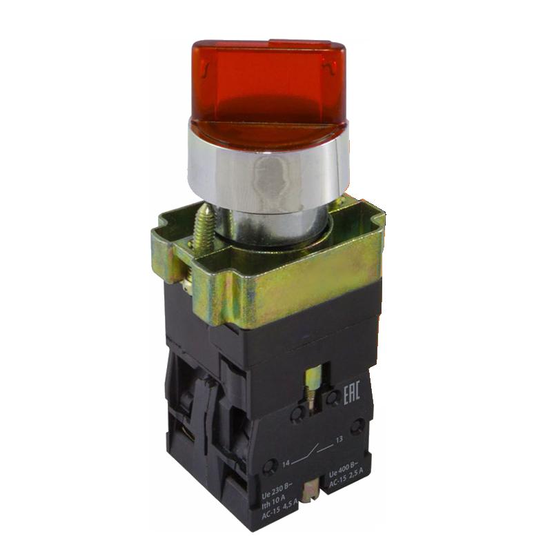 Перемикач кнопковий двопозиційний PB2-ВК2465 з LED підсвіткою