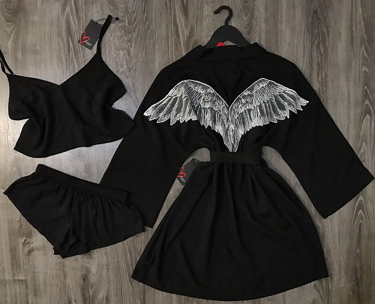 Черный комплект халат с крыльями и пижама топ+шорты.