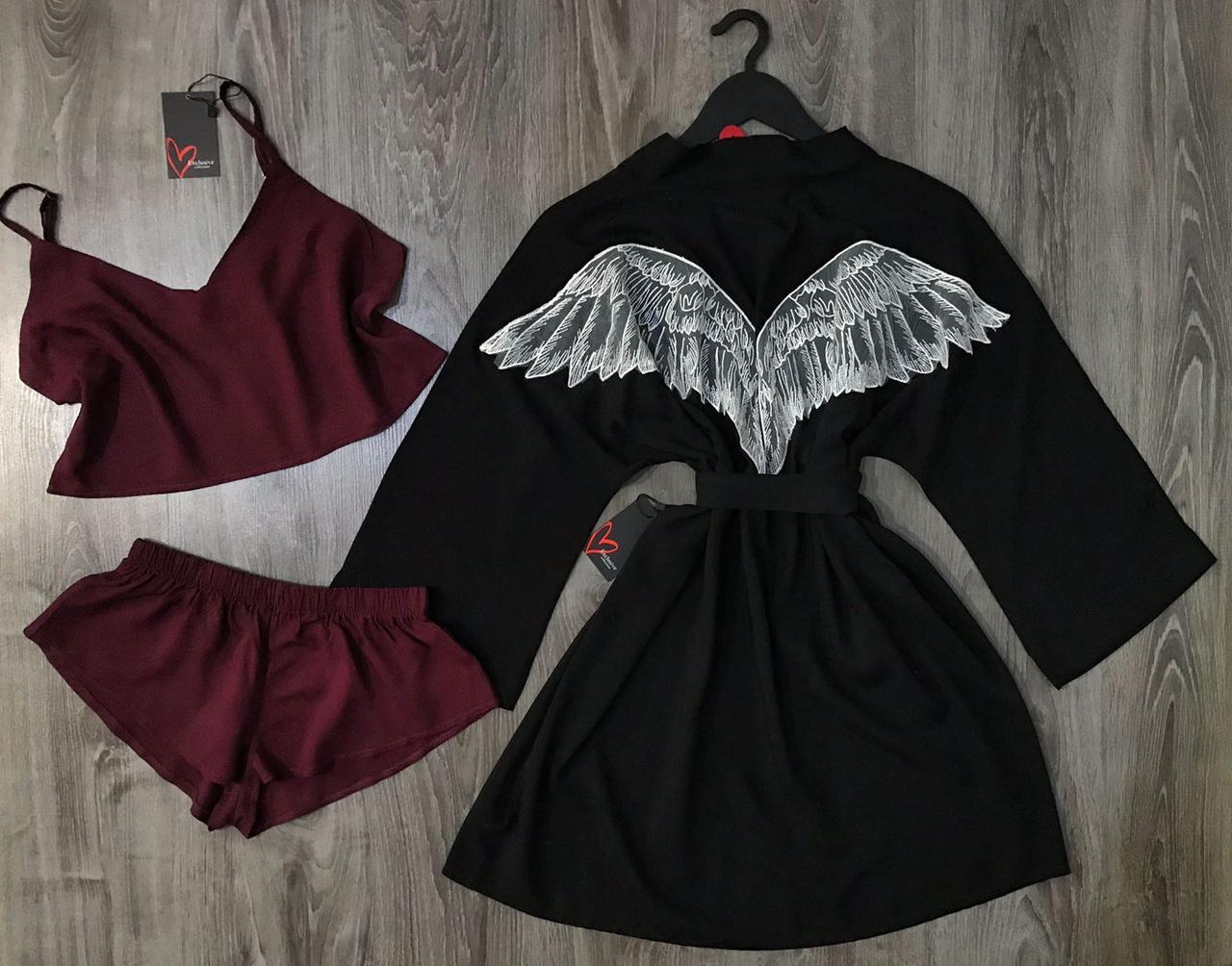 Хлопковый набор халат+топ+шорты-модный комплект.