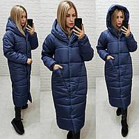 Теплое зимнее пальто с капюшоном темно-синего цвета, арт М500
