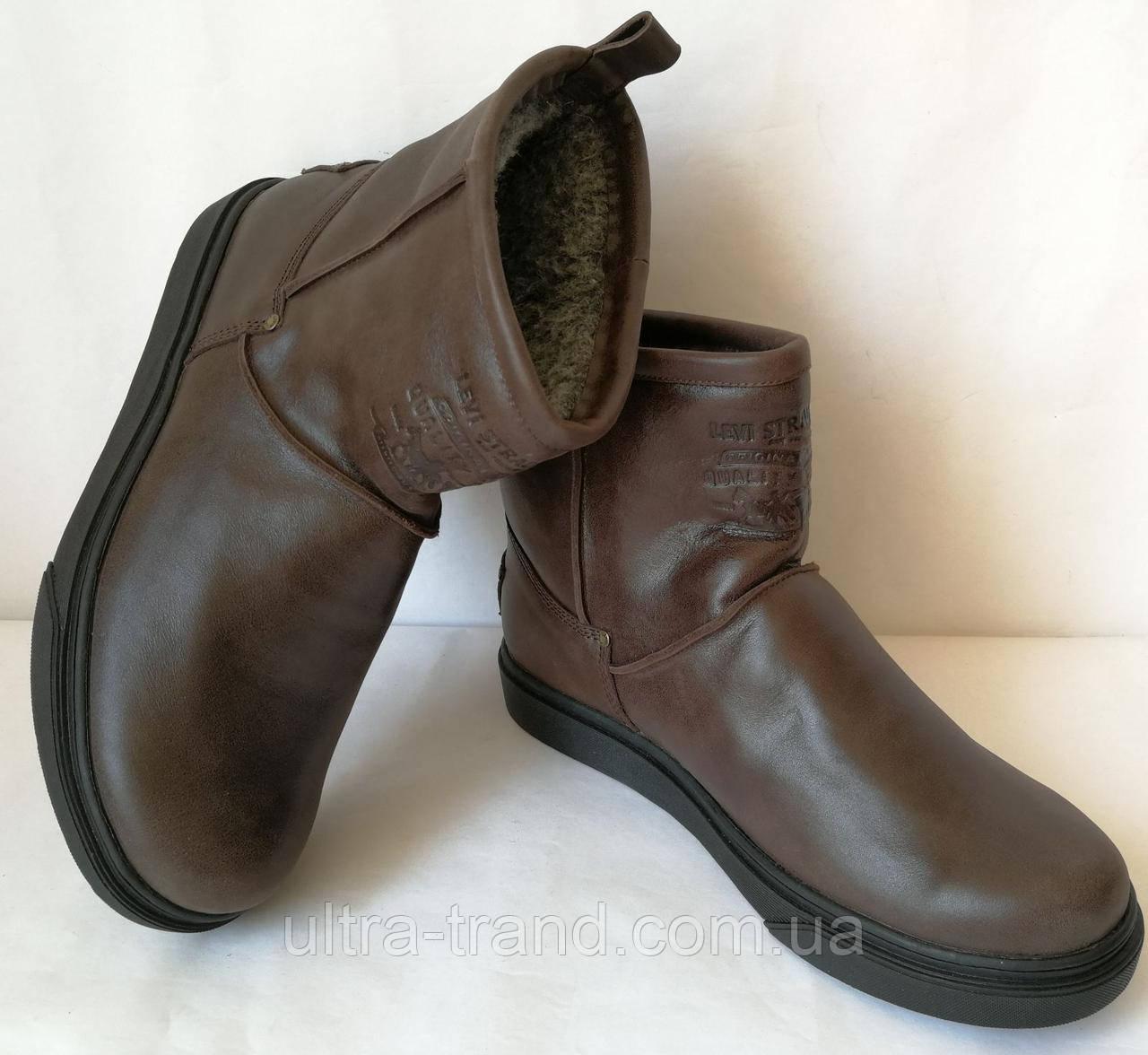 Мужские сапоги Levi's! Levi Strauss Winter угги кожаные UGG коричневая кожа