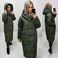 Зимнее пальто -кокон, цвет хаки, арт М500