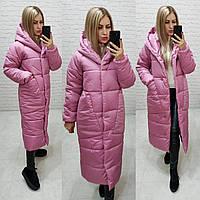 Зимнее пальто с капюшоном розового цвета, арт М500