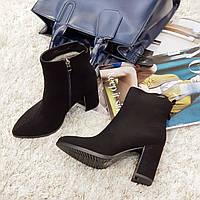 Ботинки женские зимние из натуральной замши и натурального меха на каблуке черные