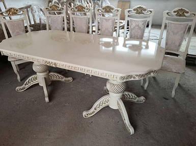 Комплект Арсегель стол Модена + 6 стульев Марино белый+патина