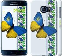 """Чехол на Samsung Galaxy S6 G920 Желто-голубая бабочка """"1054c-80"""""""