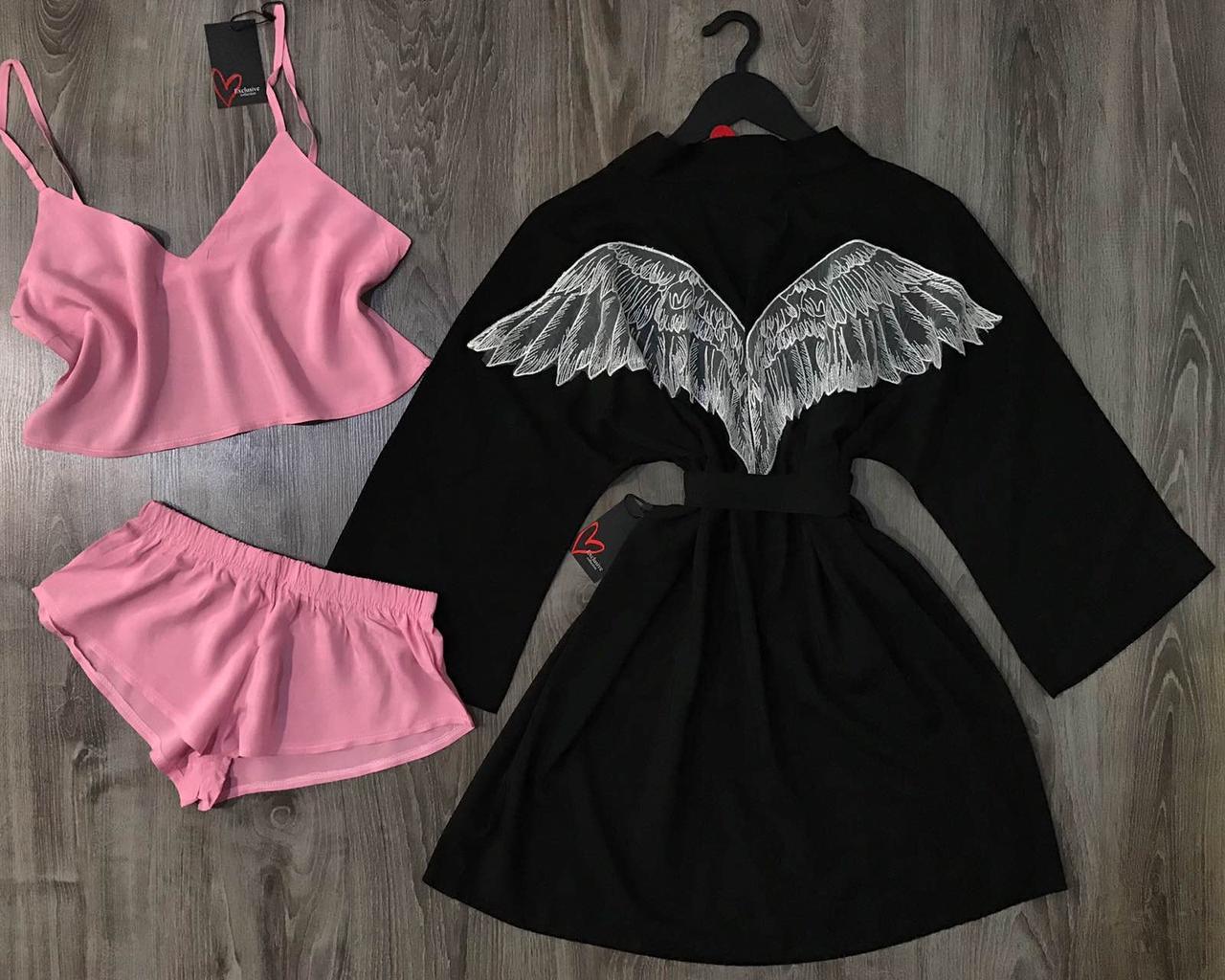 Хлопковый женский комплект для сна и отдыха, халат и пижама