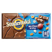 Шоколад молочный Studentska Pecet с арахисом и изюмом 180 г Чехия