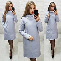 Новинка! Пальто женское с капюшоном, модель  136, светло-серый