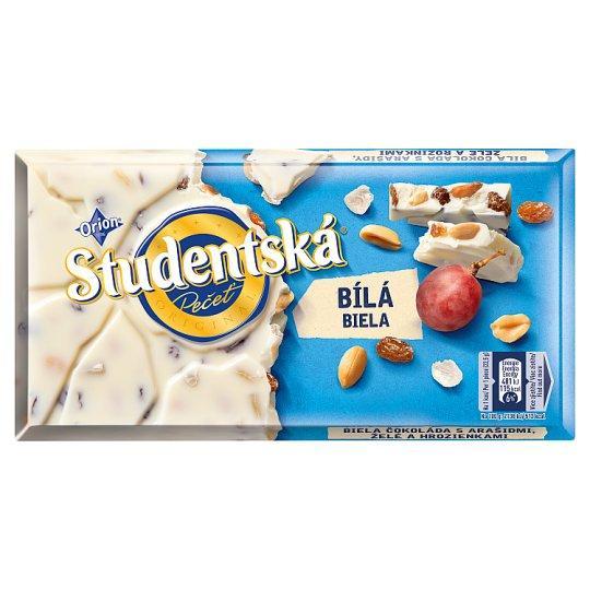 Шоколад белый Studentska c арахисом и изюмом Чехия 180г