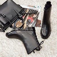 Ботинки женские зимние из натуральной кожи и натурального меха на каблуке черные 36