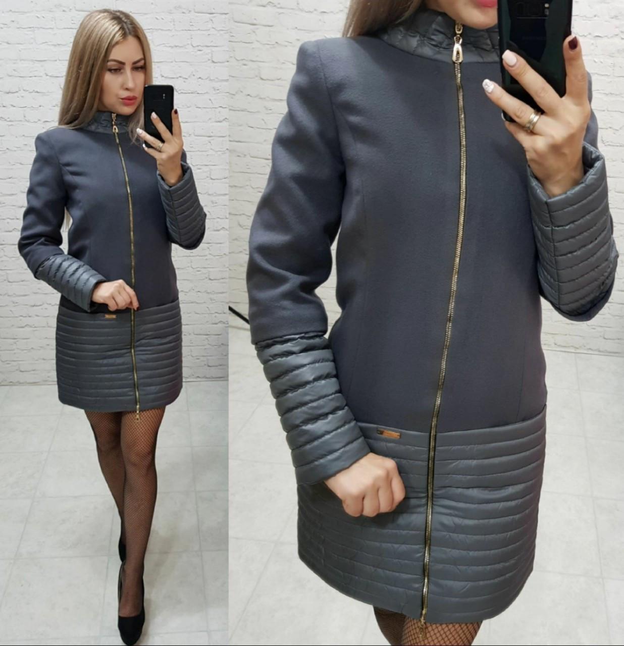 Пальто, арт 137, ткань кашемир + плащевка, цвет темно-серый